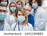 Group of doctors with face...