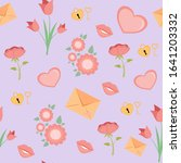 vector seamless hearts and... | Shutterstock .eps vector #1641203332