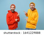 Two Excited Hipster Men Guys In ...