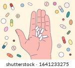 hand is holding capsule...   Shutterstock .eps vector #1641233275