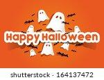 happy halloween card with bats...   Shutterstock .eps vector #164137472