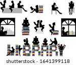 silhouettes of people with a... | Shutterstock . vector #1641399118