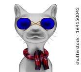 3d cartoon character with a cat ... | Shutterstock . vector #164150042