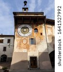 Small photo of Clusone, Bergamo, Italy. February 7, 2020. The astronomical or planetary clock made in 1953. Famous attraction of the city. It has been loaded by hand every day for about four hundred years