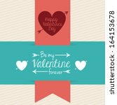valentines day over lineal... | Shutterstock .eps vector #164153678
