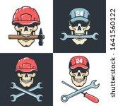 skull mechanic repairman with... | Shutterstock .eps vector #1641560122