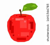 red apple  pixel flat design | Shutterstock .eps vector #1641566785