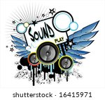 vector sound and music frame.   Shutterstock .eps vector #16415971