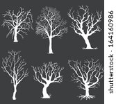 vector set of white bare trees... | Shutterstock .eps vector #164160986