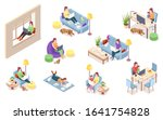 set of isolated vector woman at ... | Shutterstock .eps vector #1641754828