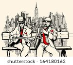 Vector illustration of two jazz men playing in New York - saxophone and guitar