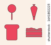 Set Brownie chocolate cake , Frying pan , Pastry bag for decorate cakes and Bread toast icon. Vector