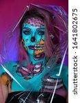 Girl With Face Art Skull