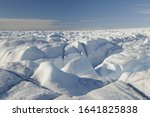 Deep crevices on the ice sheet, Greenland