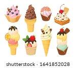 cartoon gelato and waffle cones ... | Shutterstock .eps vector #1641852028