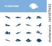 fish icon set and harbor seal...