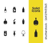 alcohol icons set with old...