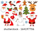 vector color christmas icons... | Shutterstock .eps vector #164197706