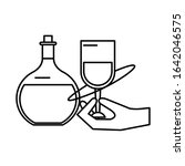 hand human lifiting wine cup... | Shutterstock .eps vector #1642046575