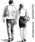 pair at walk | Shutterstock .eps vector #164204792