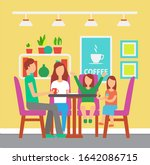 coffee house or cafe  family...   Shutterstock . vector #1642086715