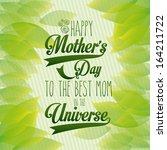 happy mothers day over leafs... | Shutterstock .eps vector #164211722