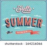 hello summer typographic design.... | Shutterstock .eps vector #164216066