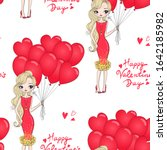 cartoon valentines girl... | Shutterstock .eps vector #1642185982