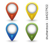 set of colored map pointers on... | Shutterstock .eps vector #164227922