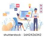 programming and web design flat ...