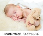 infant baby sleeping with plush ... | Shutterstock . vector #164248016