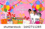 happy birthday banner. greeting ... | Shutterstock . vector #1642711285