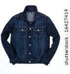 denim jacket isolated - stock photo