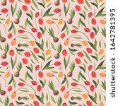 seamless pattern of flowers in... | Shutterstock . vector #1642781395