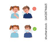 kid character sneezing and... | Shutterstock .eps vector #1642874665