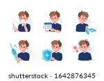 flu disease symptoms and... | Shutterstock .eps vector #1642876345