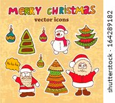 vector vintage christmas card... | Shutterstock .eps vector #164289182