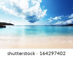 anse lazio beach at praslin... | Shutterstock . vector #164297402