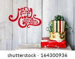 christmas card with red and... | Shutterstock . vector #164300936
