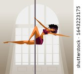 sensual woman training  pole... | Shutterstock .eps vector #1643223175