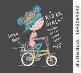 girl and bicycle illustration... | Shutterstock .eps vector #1643264542