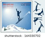 Alpine Landscape  Skier Flying...