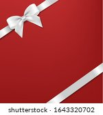 white bow and ribbon with red... | Shutterstock .eps vector #1643320702