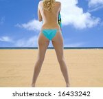 Rearview of hot topless blonde at the beach! - stock photo