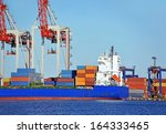 container stack and ship under... | Shutterstock . vector #164333465