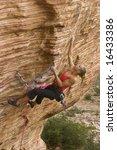 young woman rock climbing in...   Shutterstock . vector #16433386