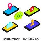 flat isometric phones with user ...