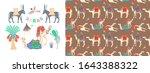 set of hand drawing camel ... | Shutterstock . vector #1643388322