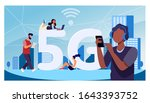 young people using 5g high... | Shutterstock .eps vector #1643393752