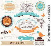 vector set of  wedding design... | Shutterstock .eps vector #164343086